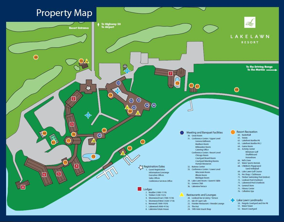 An illustration of the grounds and the different locations at Lake Lawn Resort.