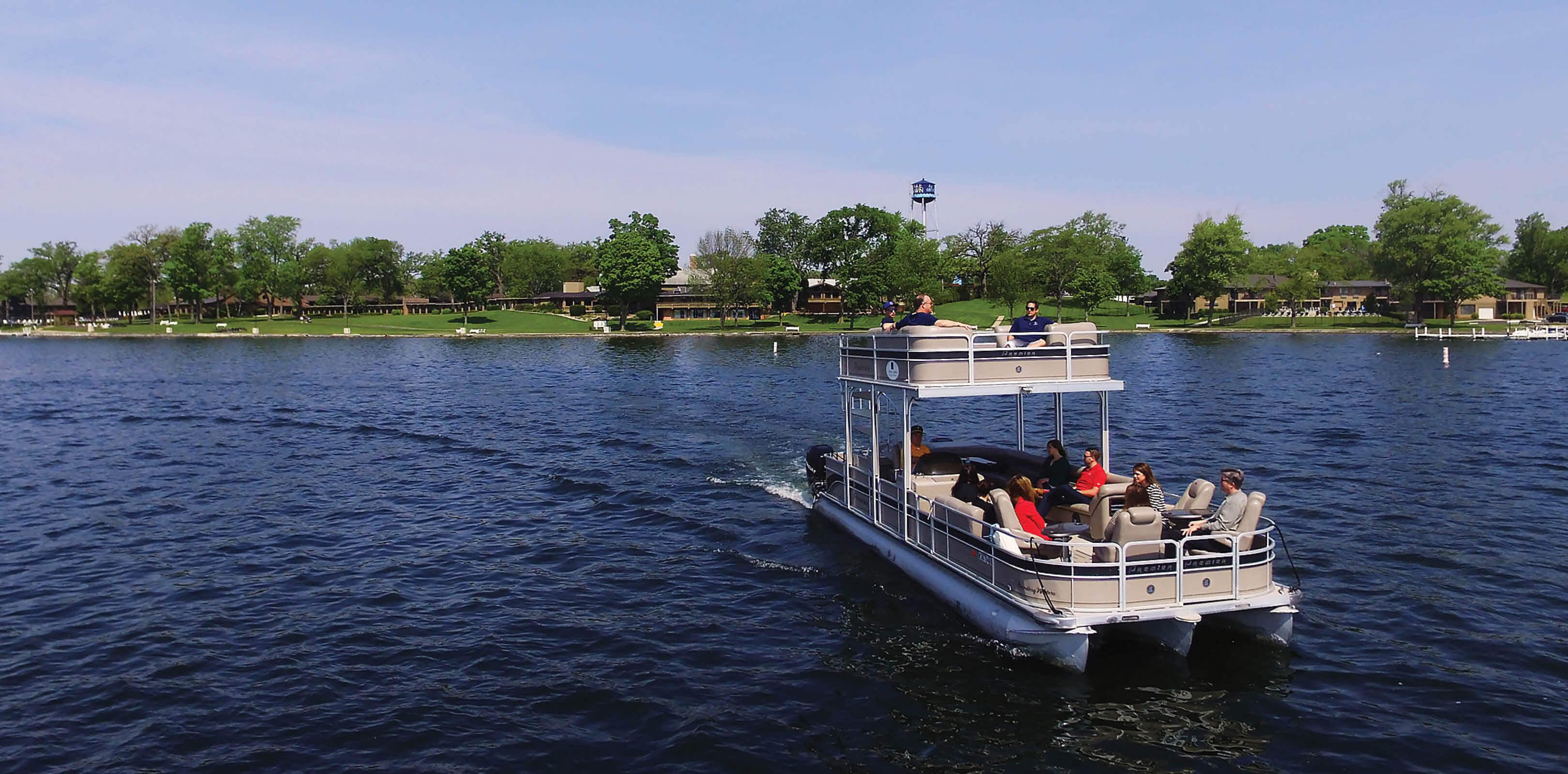 Double Deck Pontoon Boat on Delavan Lake