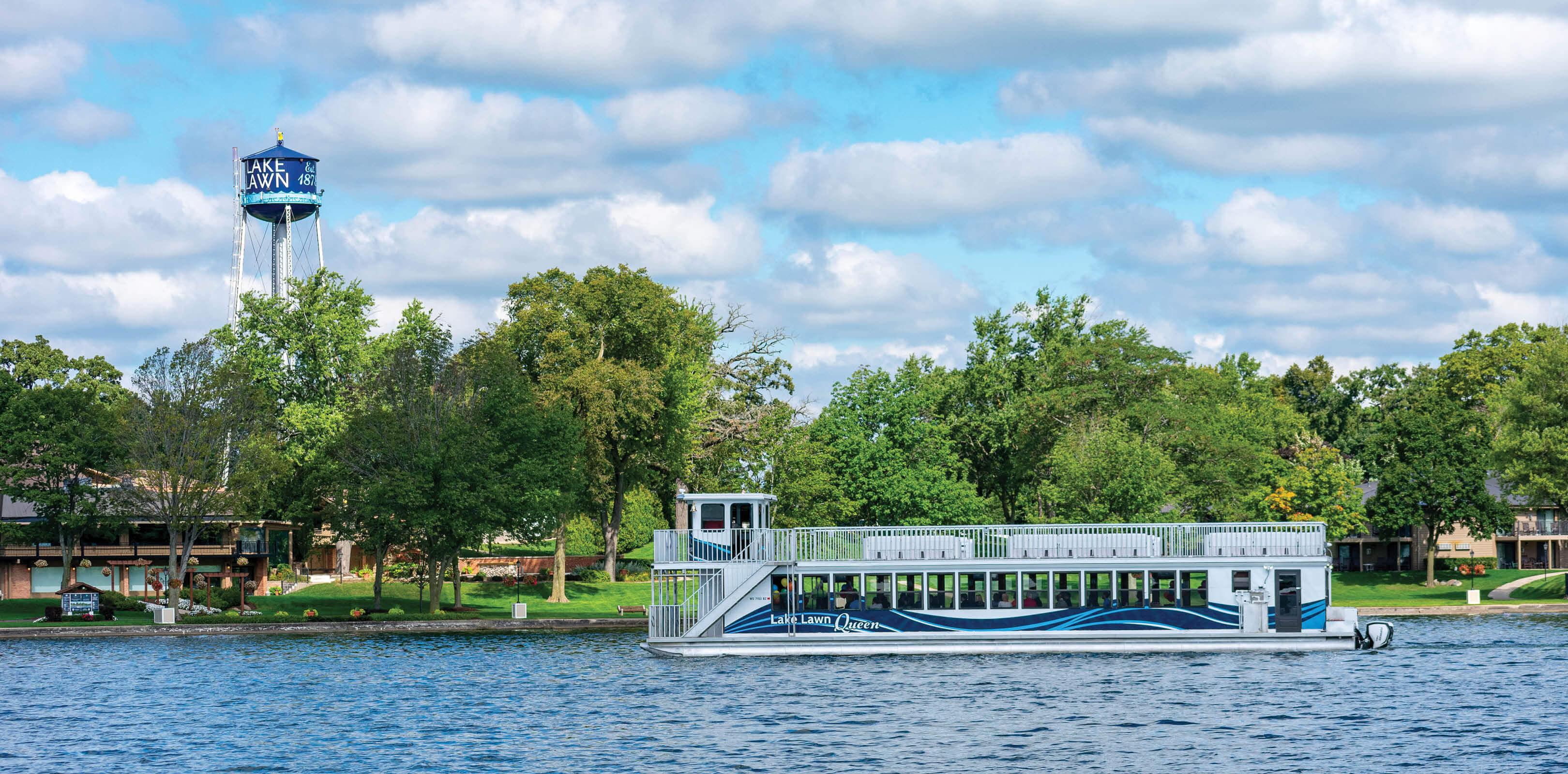 Lake Lawn Queen Tour Boat on Lake Lawn Shoreline