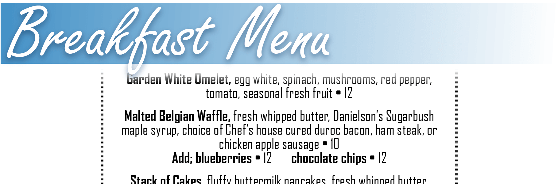 Breakfast Menu Header