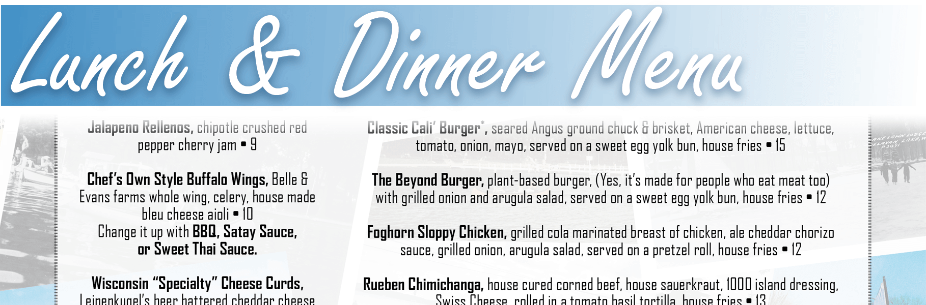 Lunch and Dinner Menu header